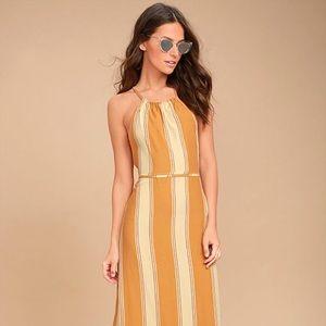 Tuscany Yellow Striped Midi Dress